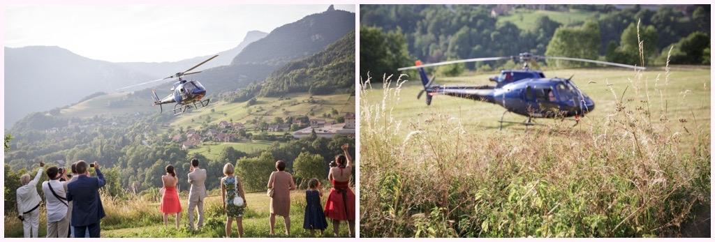 photo arrivée des mariés en hélicoptère bleu