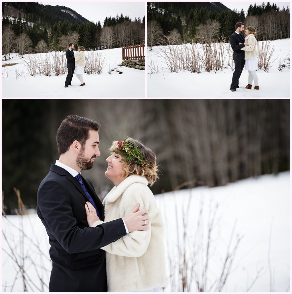 photo couple mariage hiver neige près de grenoble aurelie allanic wedding in the french alps