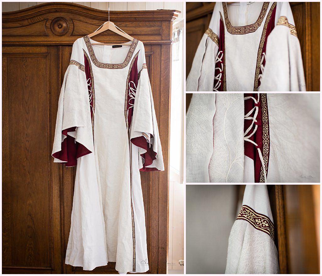 habillage des maries préparatifs mariage medieval en costume photographe mariage aurelie allanic